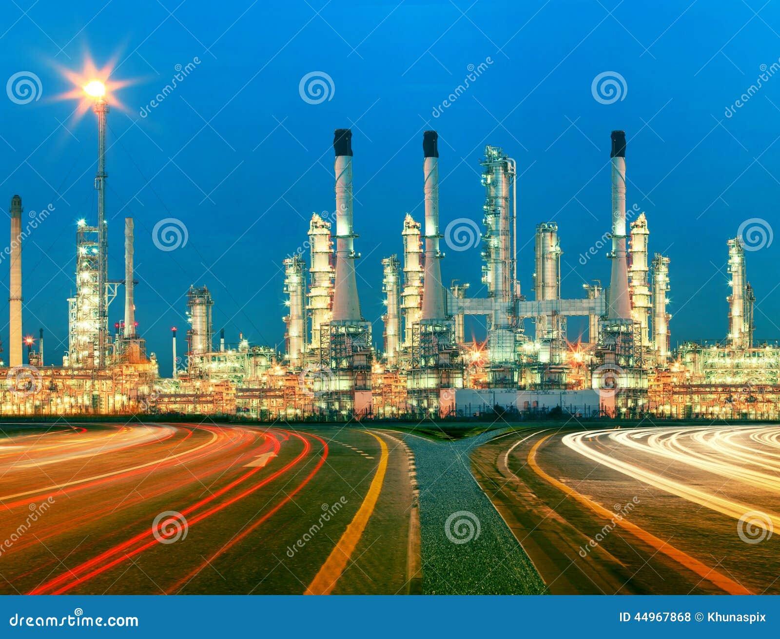 Beautiful Lighting Of Oil Refinery Plant In Heav