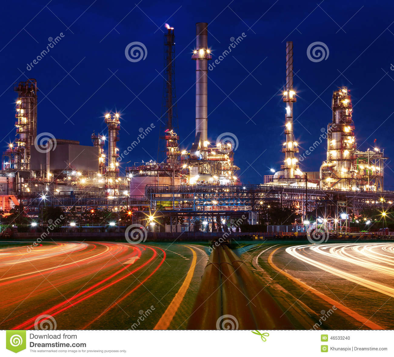 beautiful lighting of oil refinery plant in industry estate agai beautiful lighting