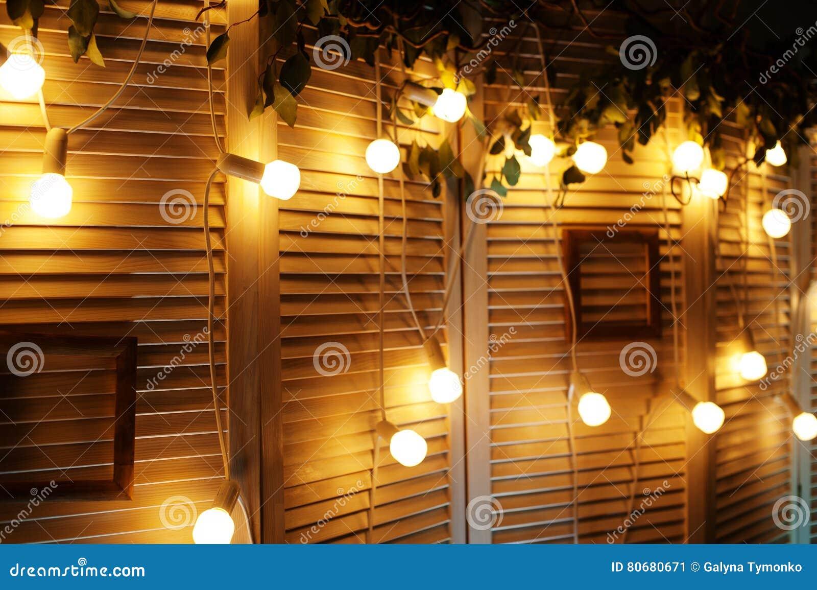 Beautiful Lights On Wall Decor For Christmas Shoot Stock Image ...