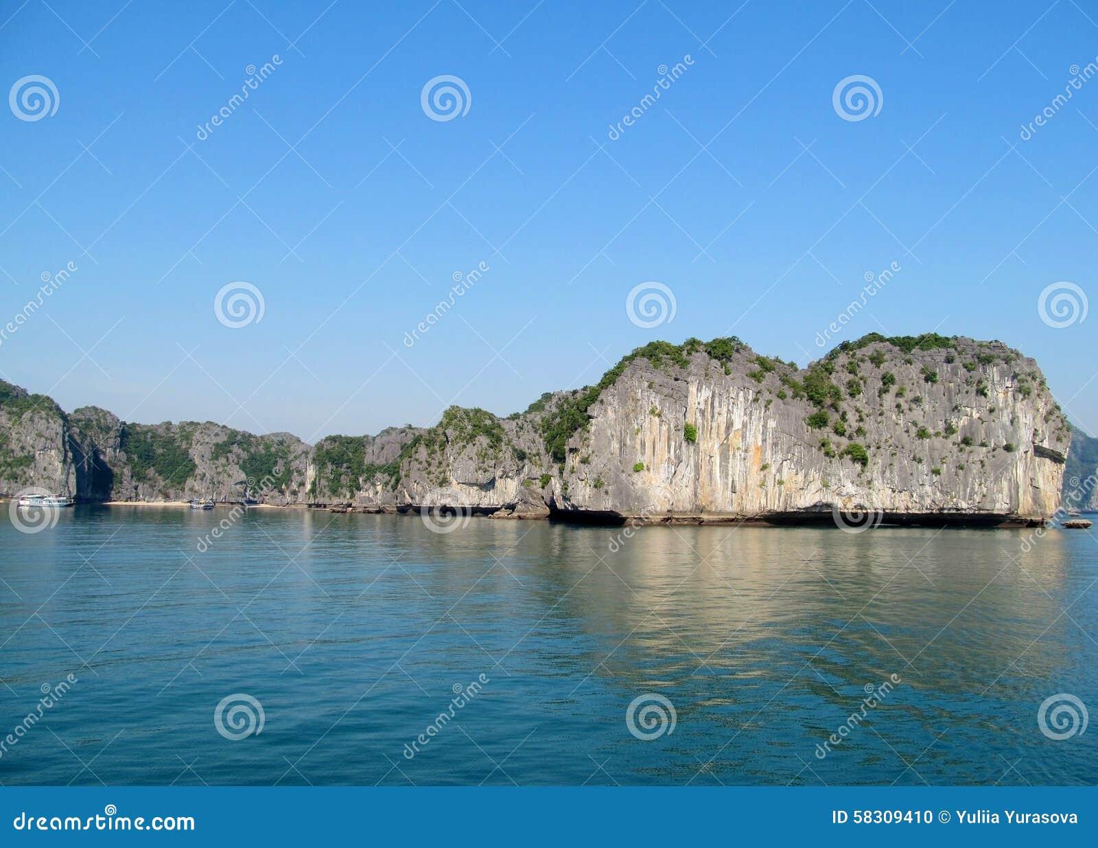 Beautiful limestone island in sea