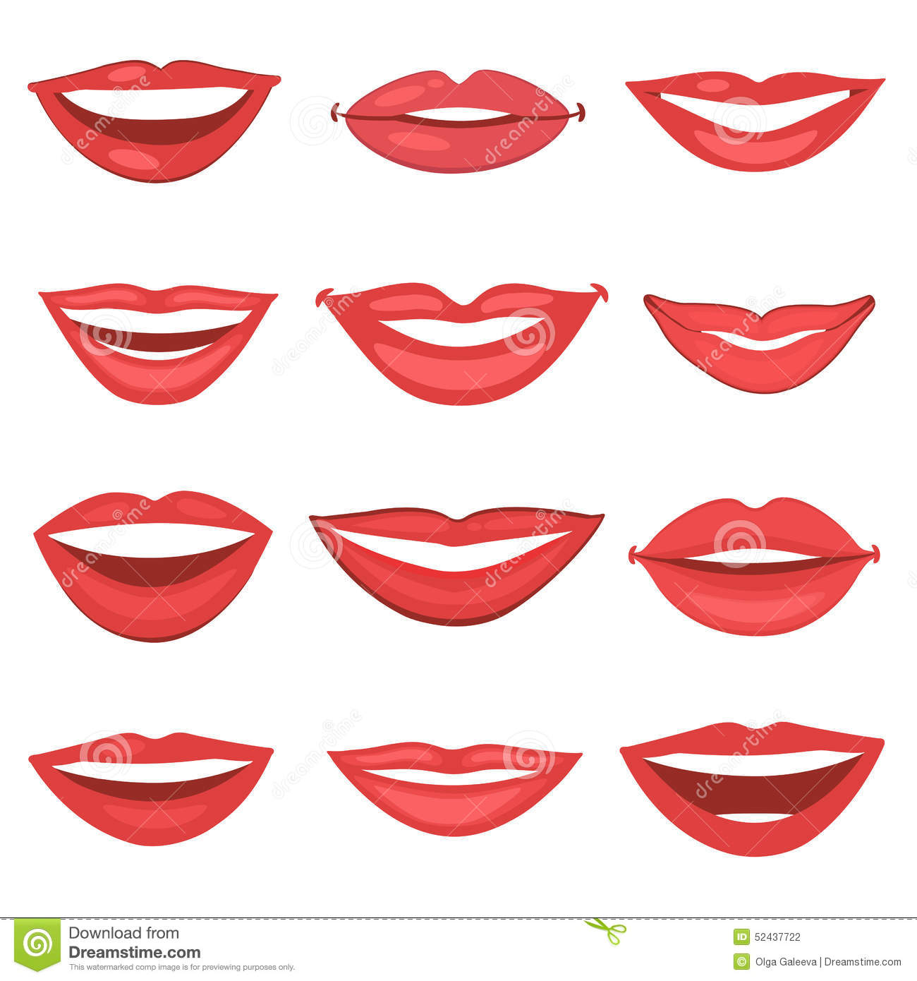 Beautiful lips collection stock vector. Illustration of ...