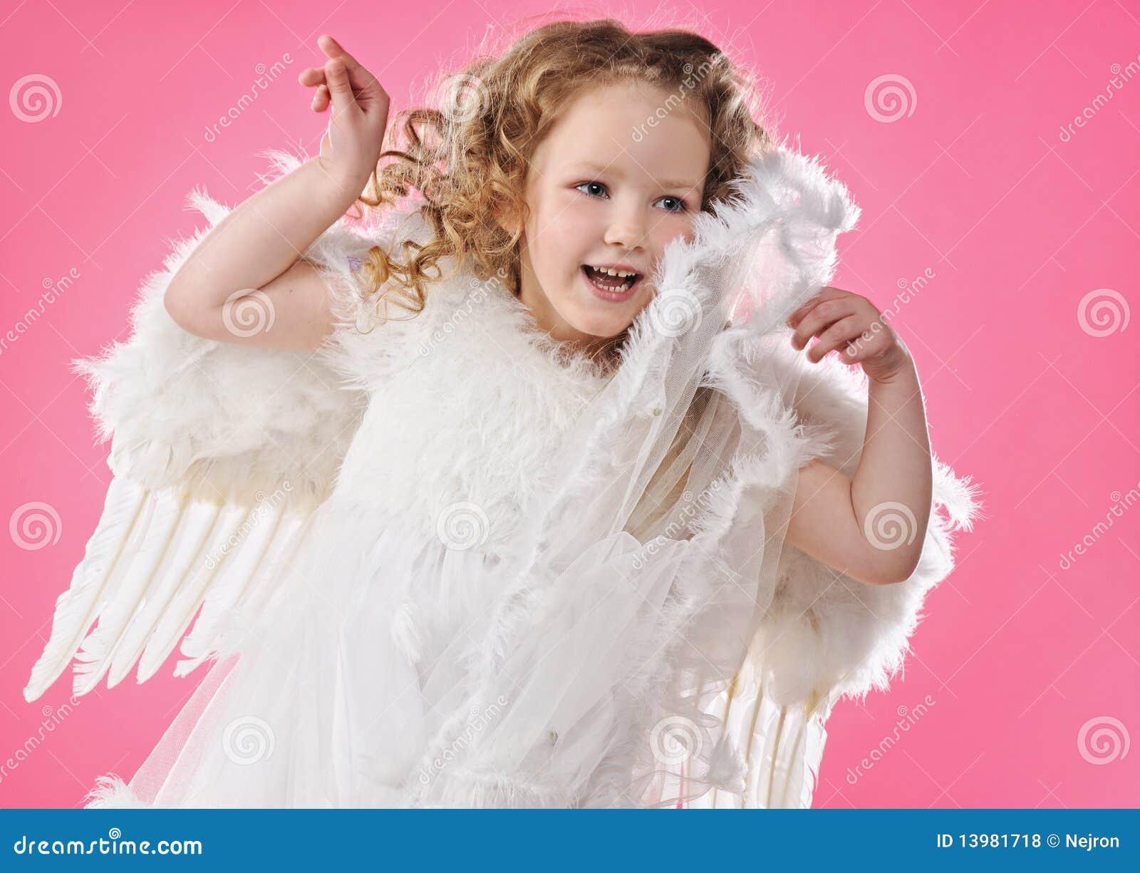 little angel girl bath time