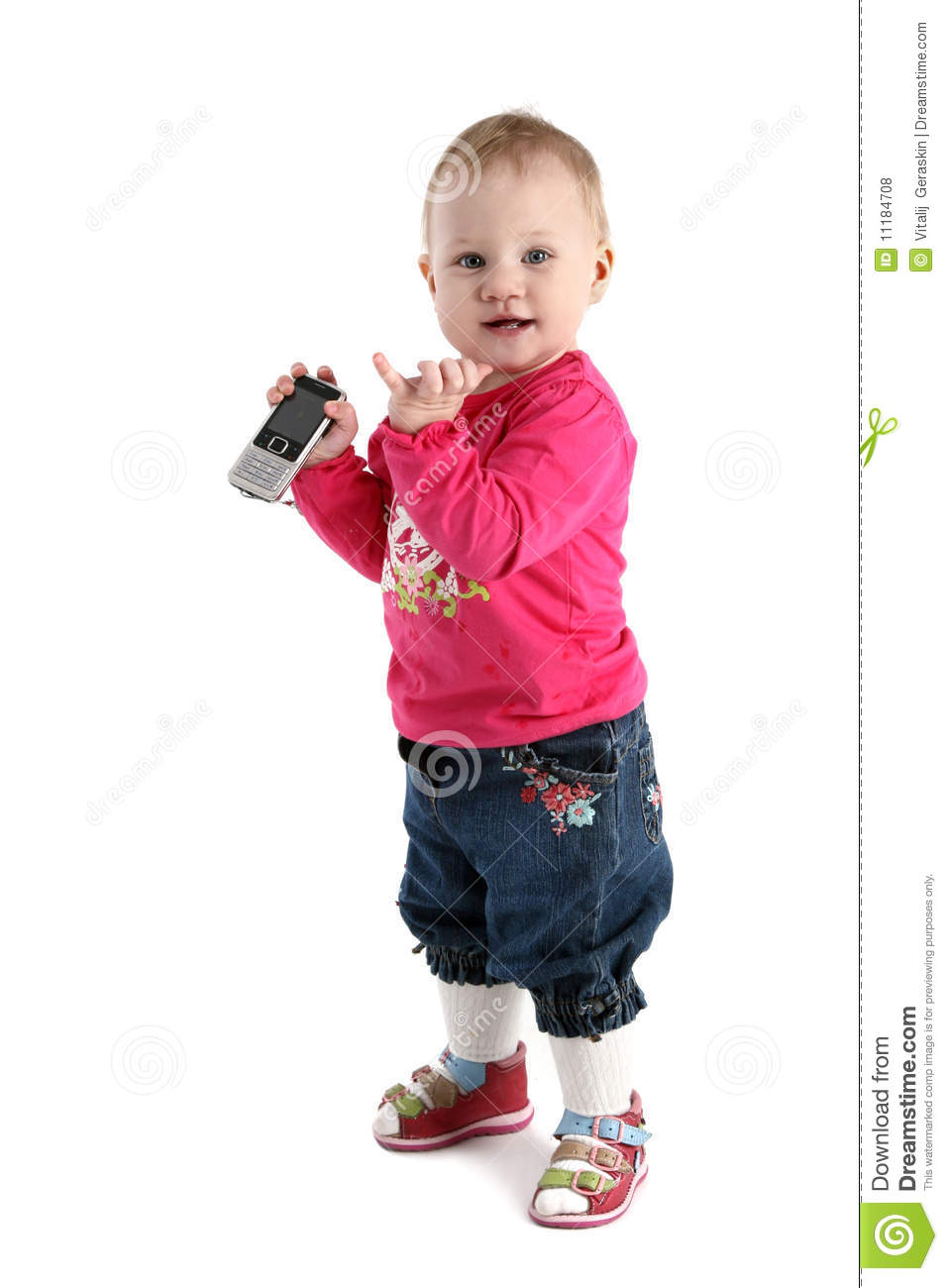 Beautiful Little Baby Girl With Mobile Phone Stock Photo Image Of Girl Cute 11184708