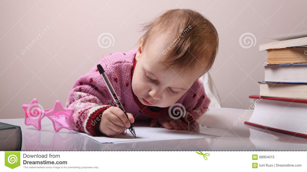 Girl Writing Letter With Smirk