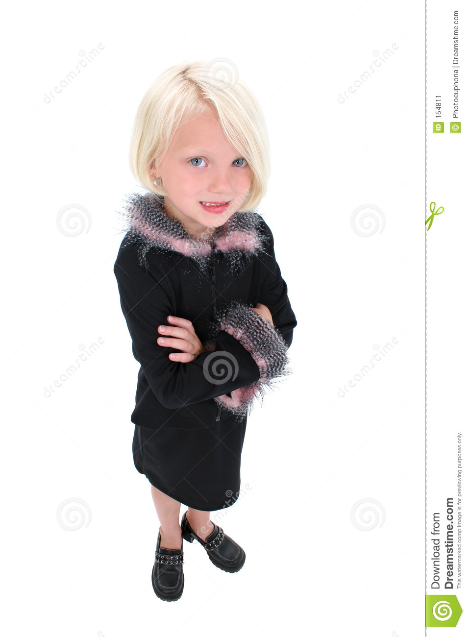 Beautiful Little Business Woman In Black Suit With Pink Feathers