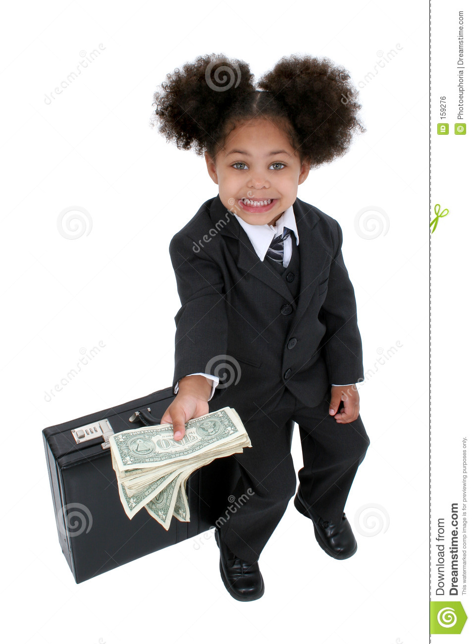 Beautiful Little Business Woman With Briefcase And Money