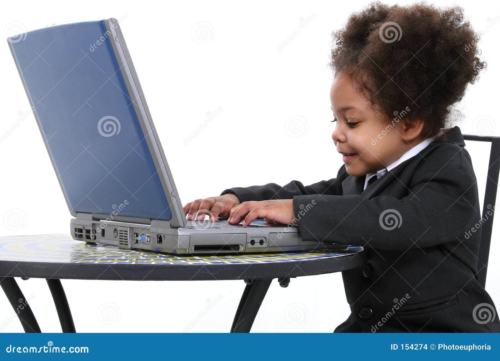 Beautiful Little Business Woman Working On Laptop