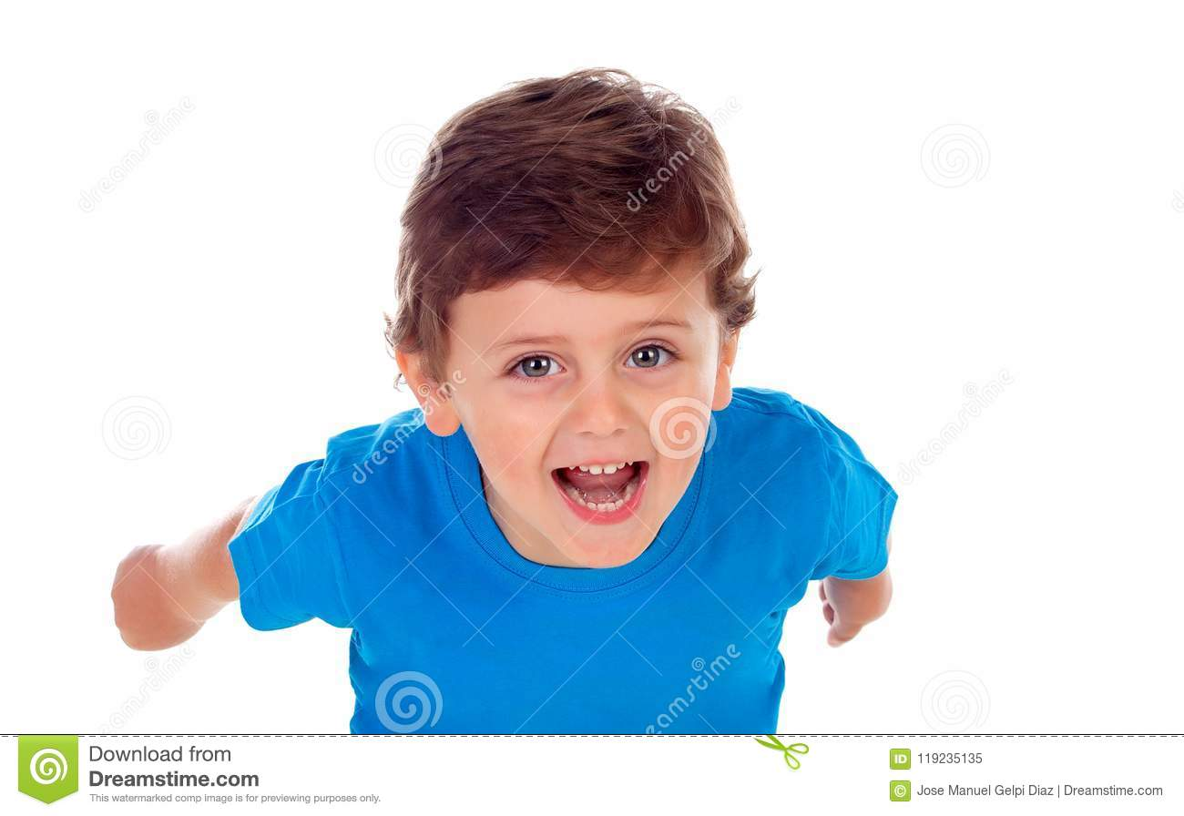 f3320b2c5a81 Beautiful Little Child Three Years Old Wearing Blue T-shirt Runing ...