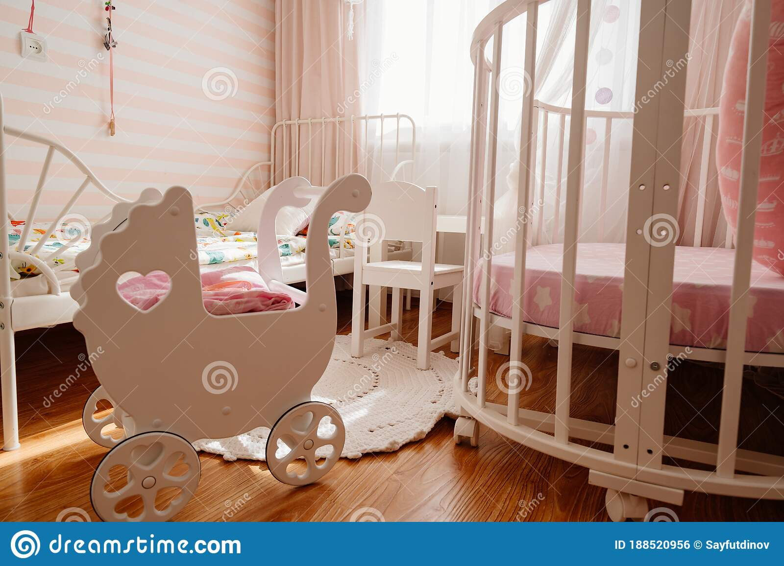 Picture of: Beautiful Little Cosy White Kids Room With Two Beds For Girls Kids Stock Photo Image Of Beds Apartment 188520956