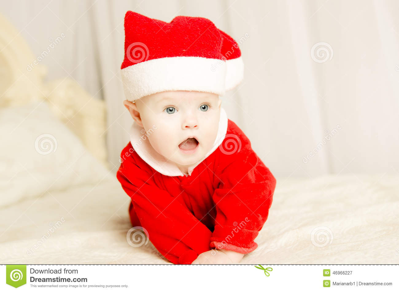 beautiful little cute baby girl on christmas stock image - image of