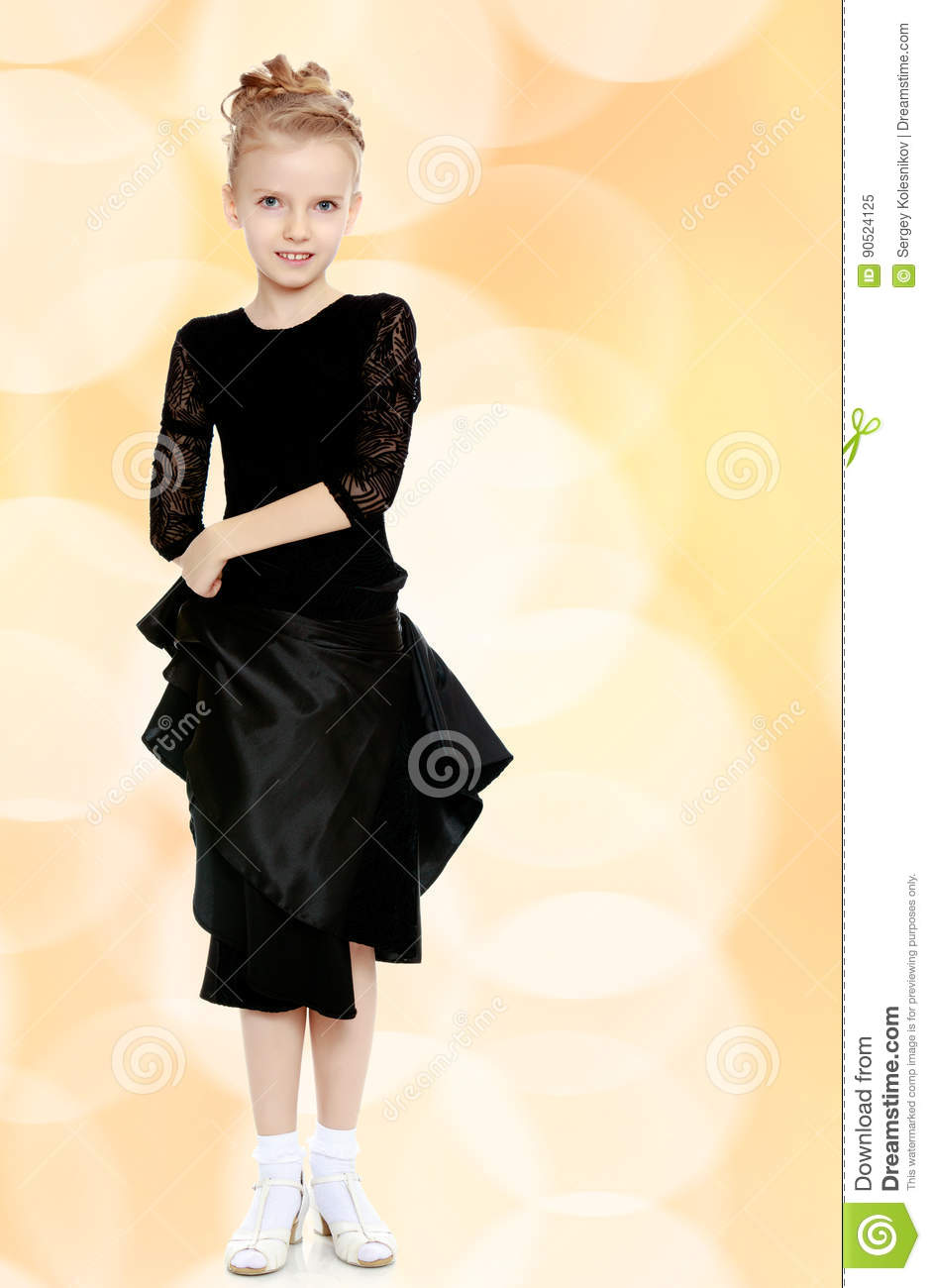 2fe26346484e Beautiful Little Dancer In A Black Dress. Stock Image - Image of ...