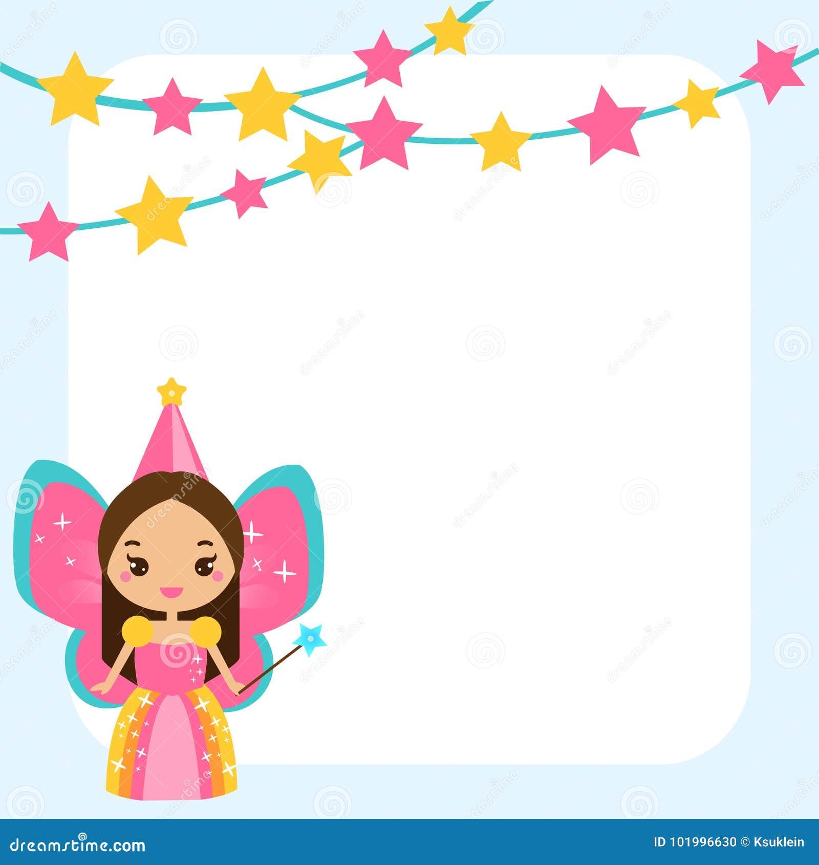 Beautiful Little Fairy Character Magic Wand Blue Frame Design