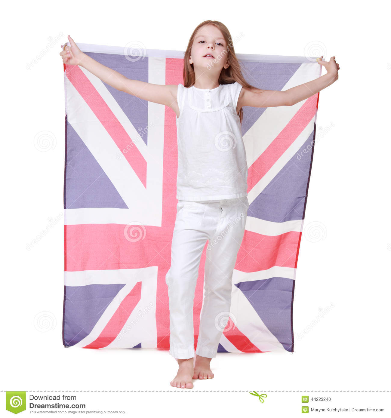 happy woman laughing and holding the british flag royalty free