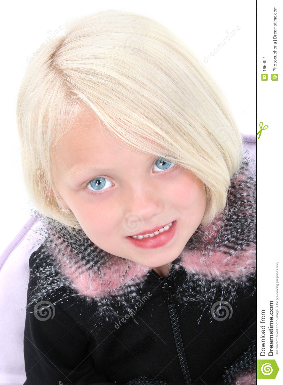 Beautiful Little Girl In Black Jacket With Feather Trim