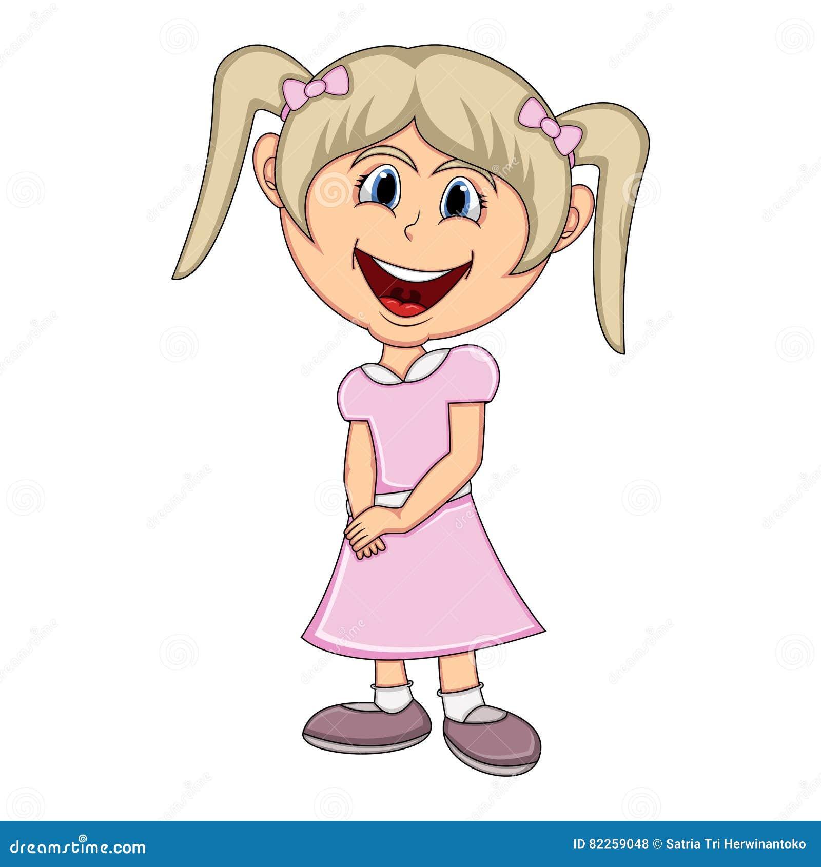 Beautiful Little Girl Cartoon Stock Vector Illustration Of Joyful