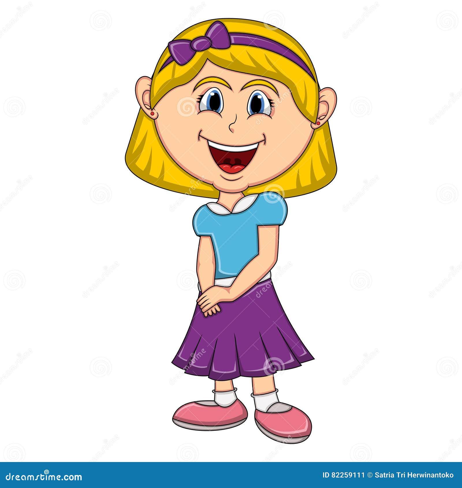 Beautiful Little Girl Cartoon Stock Vector Illustration Of Cartoon