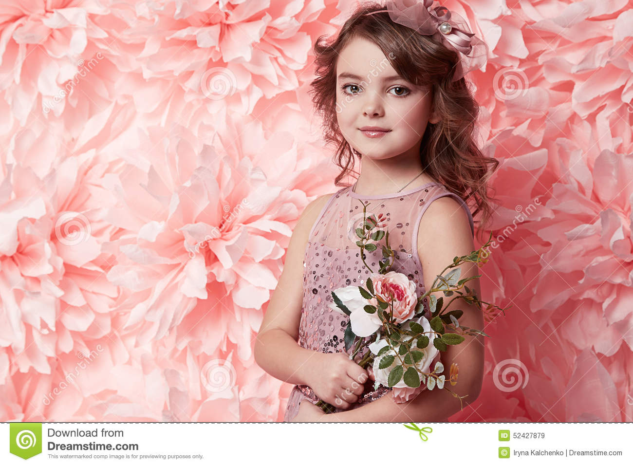 c35b523973e3 Beautiful Little Girl In Cute Dress With Flower Stock Image - Image ...