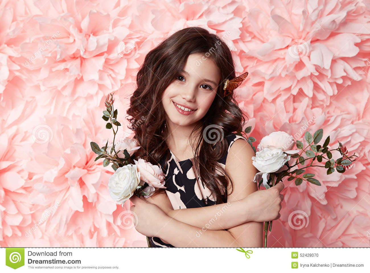 Young little girl flower