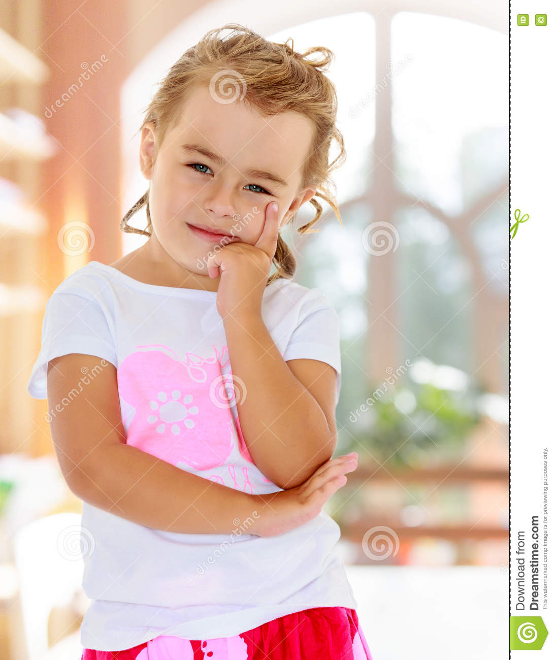Beautiful Woman Face Over Beach Sunset Stock Image: Beautiful Little Girl Dreaming About Something. Stock
