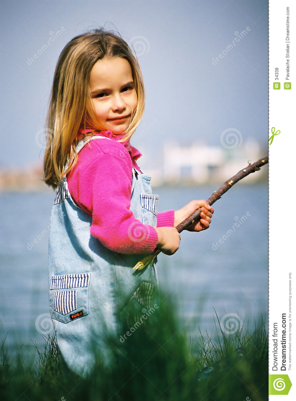 beautiful little girl fishing stock photo image of happy