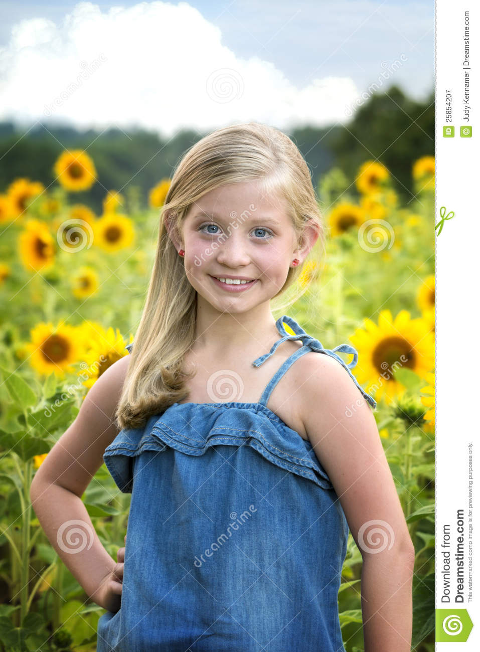 Beautiful Little Girl In Front Of Sunflower Field Stock Image - Image Of Blonde, Child -9770