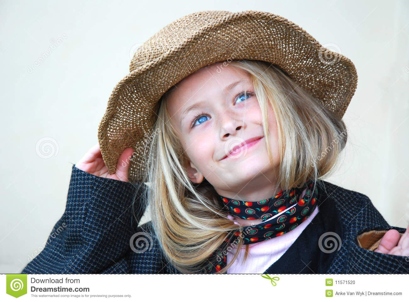 Download Beautiful Little Girl With Hat Stock Photo - Image of cute, against: 11571520