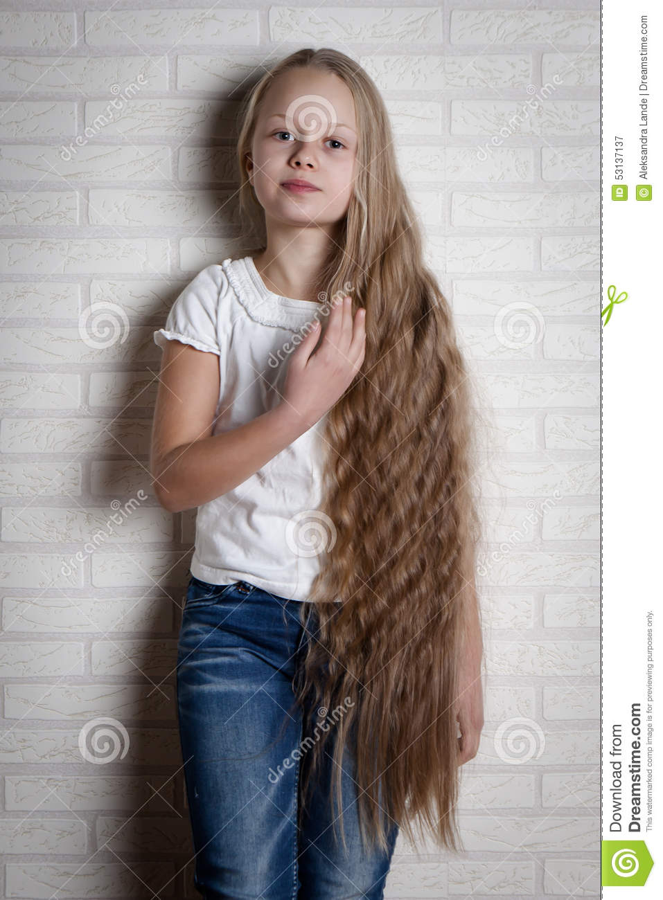 beautiful little girl with long hair stock image - image of funny