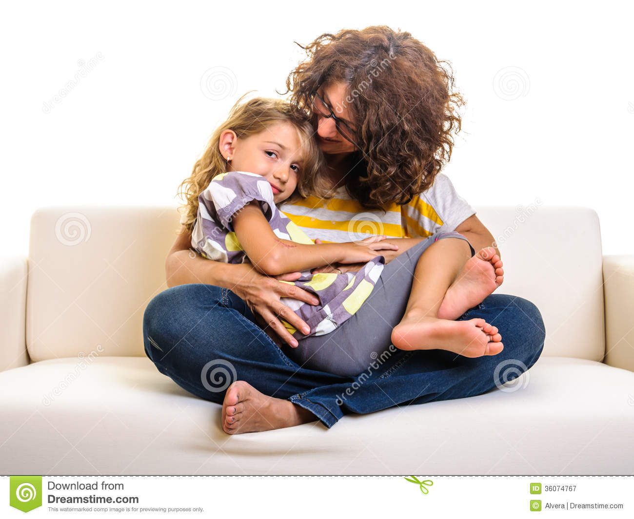 Beautiful Little Girl And Mother Cuddling Royalty Free