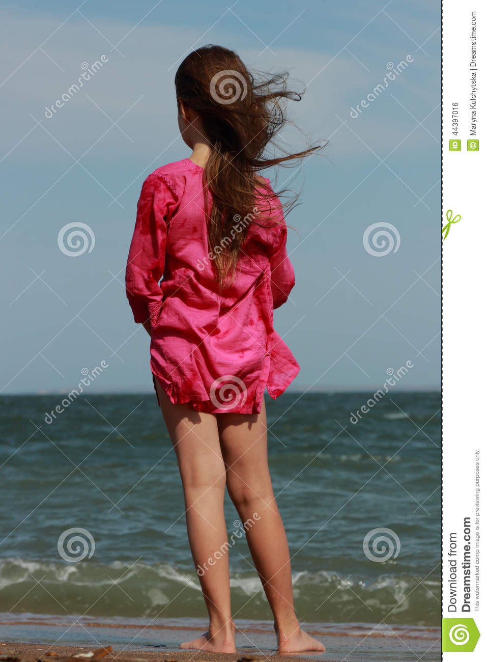 Beautiful Little Girl Over The Sea Stock Photo Image