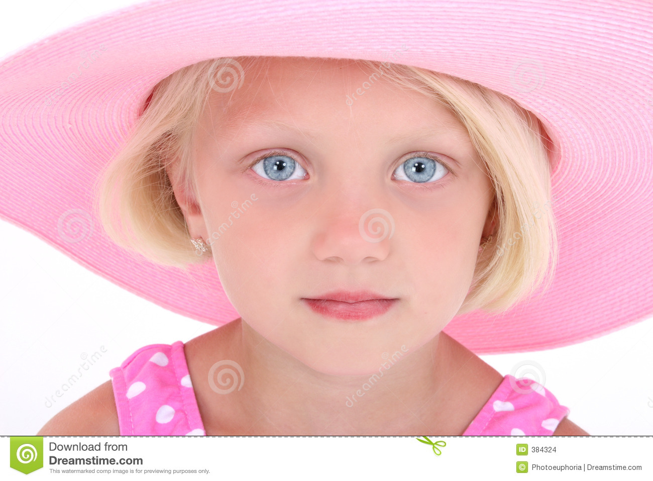 Beautiful Little Girl In Pink Swim Suit And Large Hat