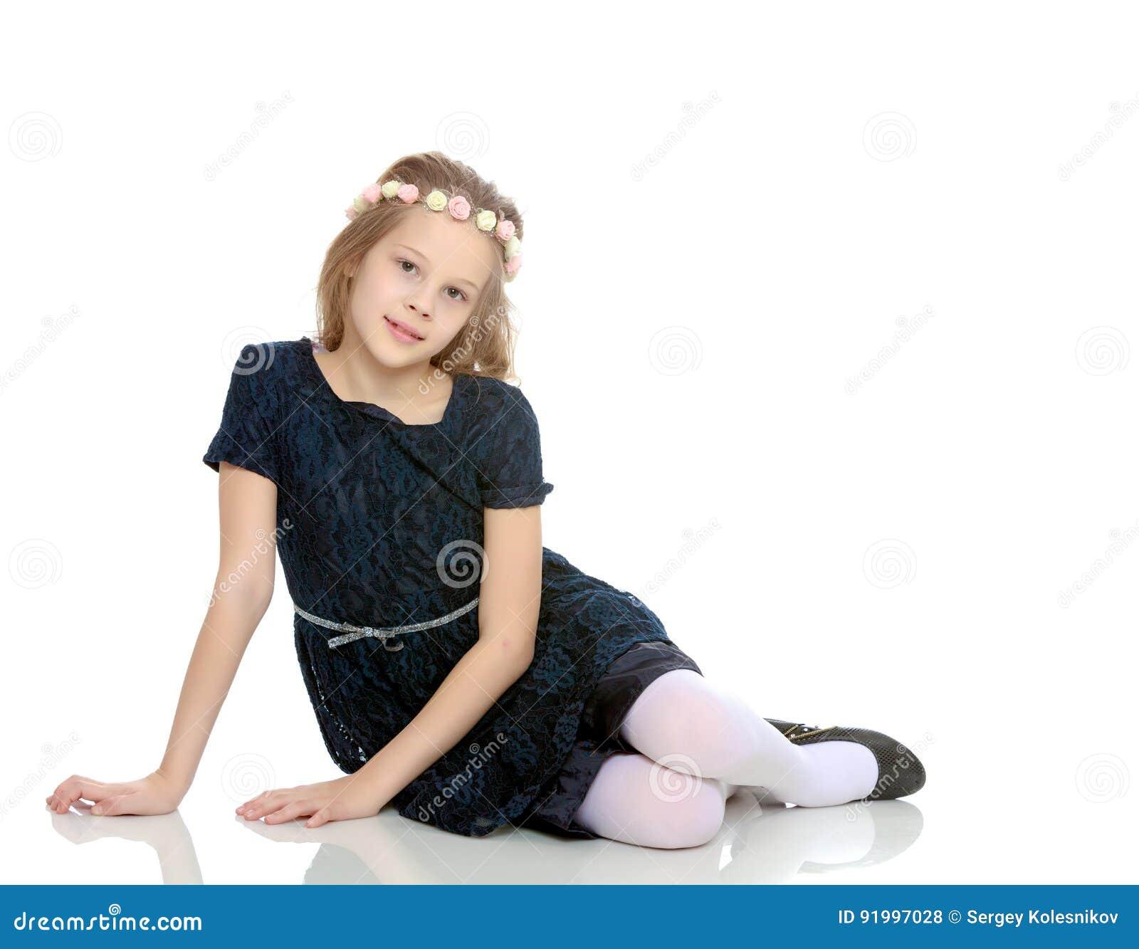 Beautiful Little Girl Bedrooms: Beautiful Little Girl Posing Sitting On The Floor. Stock