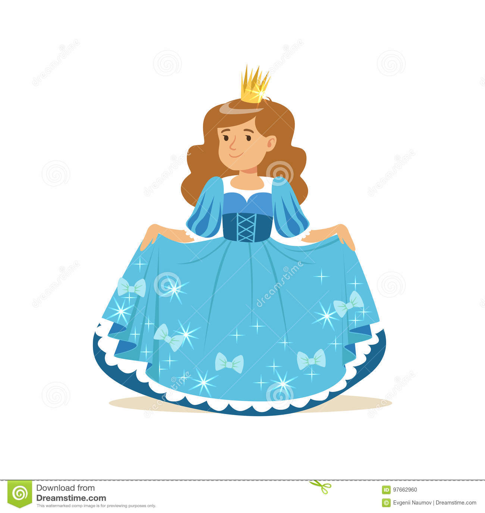 Beautiful Little Girl Princess In A Blue Ball Dress And Golden Crown ...