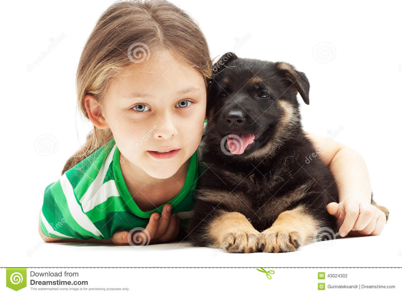 Beautiful little girl and puppy on white backg