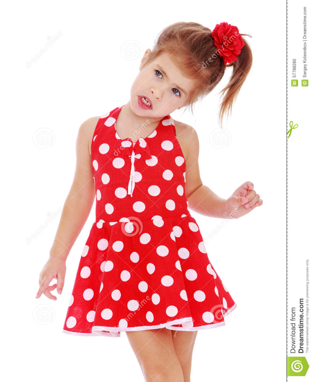 Beautiful Little Girl Bedrooms: Beautiful Little Girl In A Red Dress Stock Photo