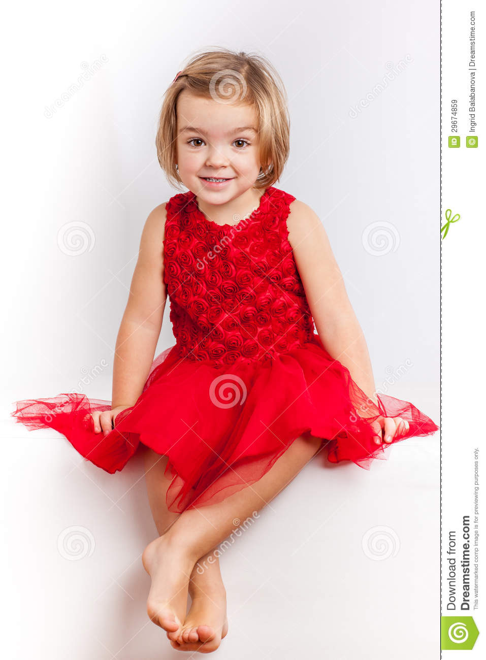 Beautiful Little Girl In Red Dresses Royalty Free Stock Images ...