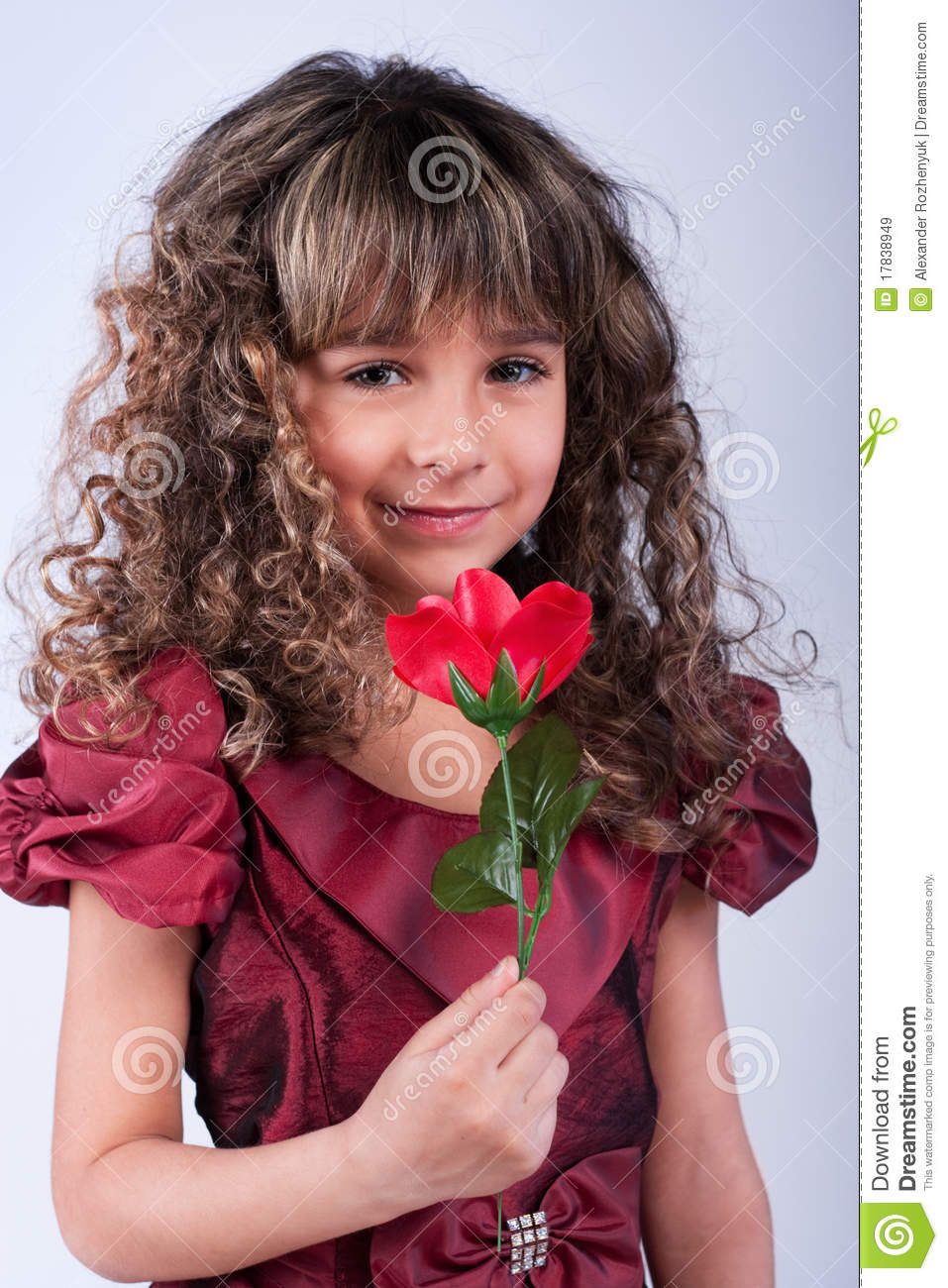 Beautiful Little Girl With Red Rose Stock Image - Image Of Dancer, Curly 17838949-6613