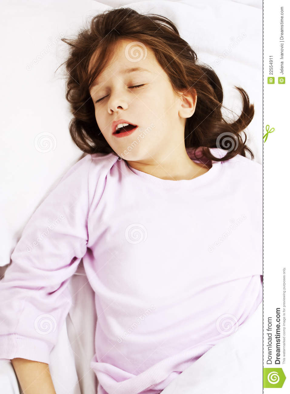 Beautiful Little Girl Sleeping With Her Mouth Open Stock
