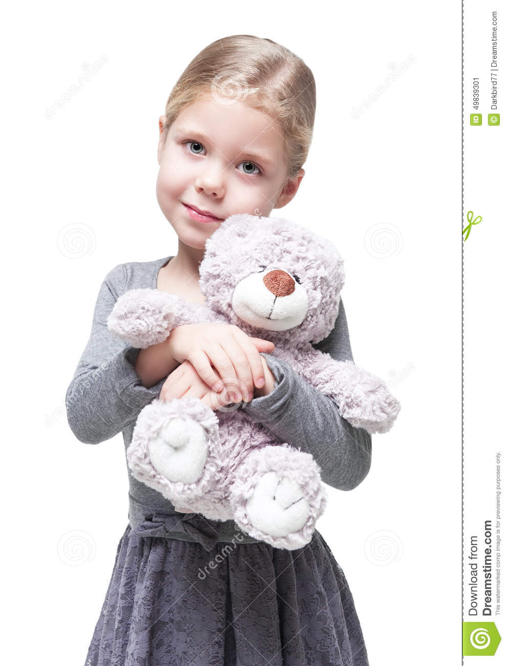 Beautiful Little Girl With Teddy Bear Isolated Stock Image ...Little Girl With Teddy Bear Black And White