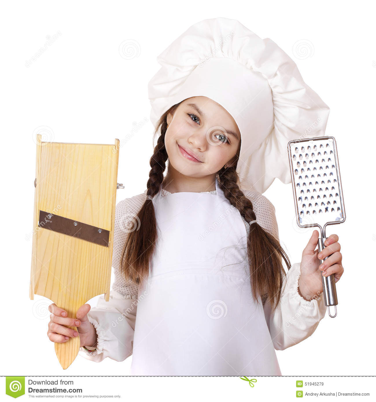 White apron girl - Beautiful Little Girl In A White Apron And Holding A Wooden Grat