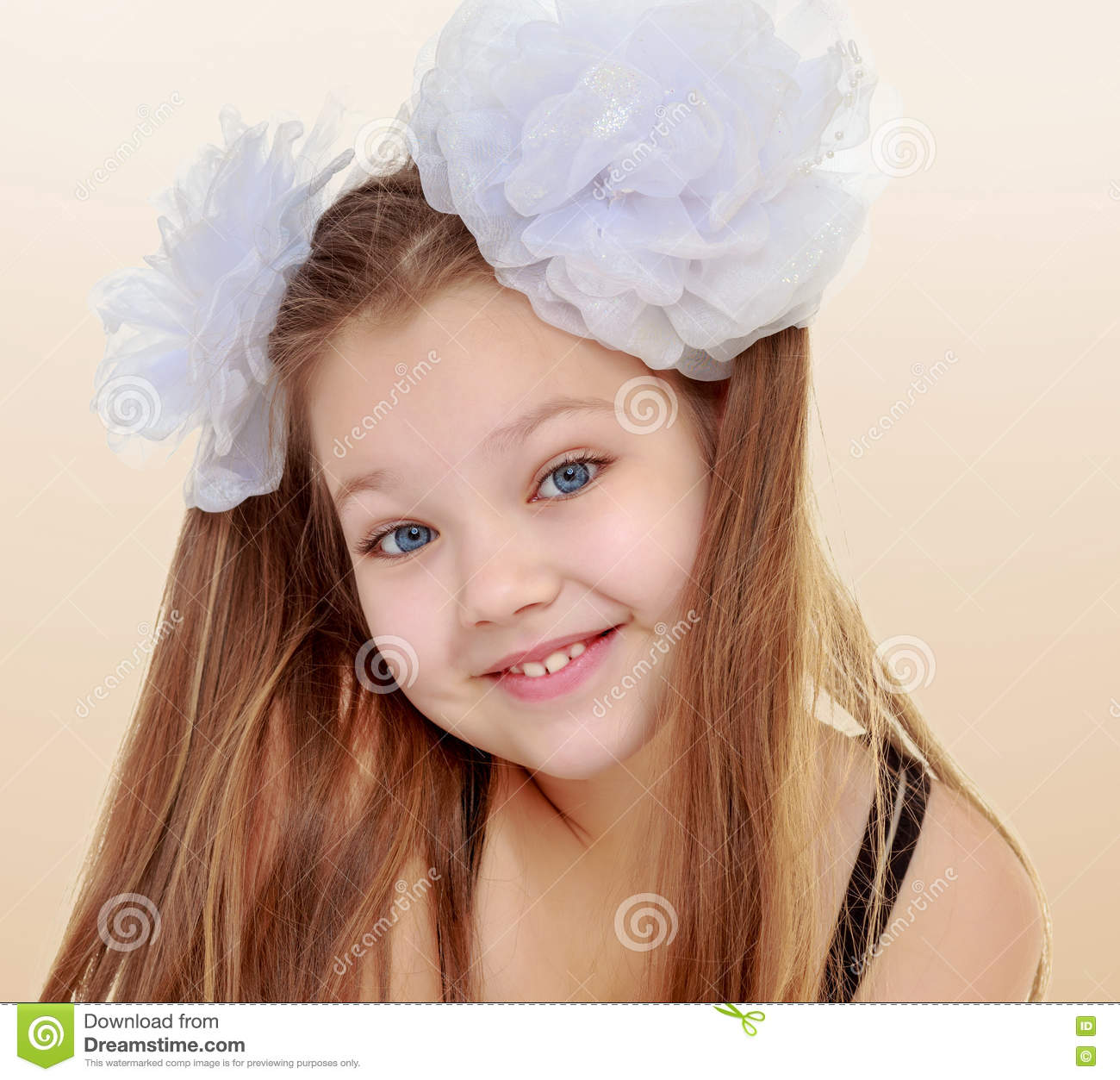 Beautiful Little Girl Bedrooms: Beautiful Little Girl With White Bows On The Head Stock