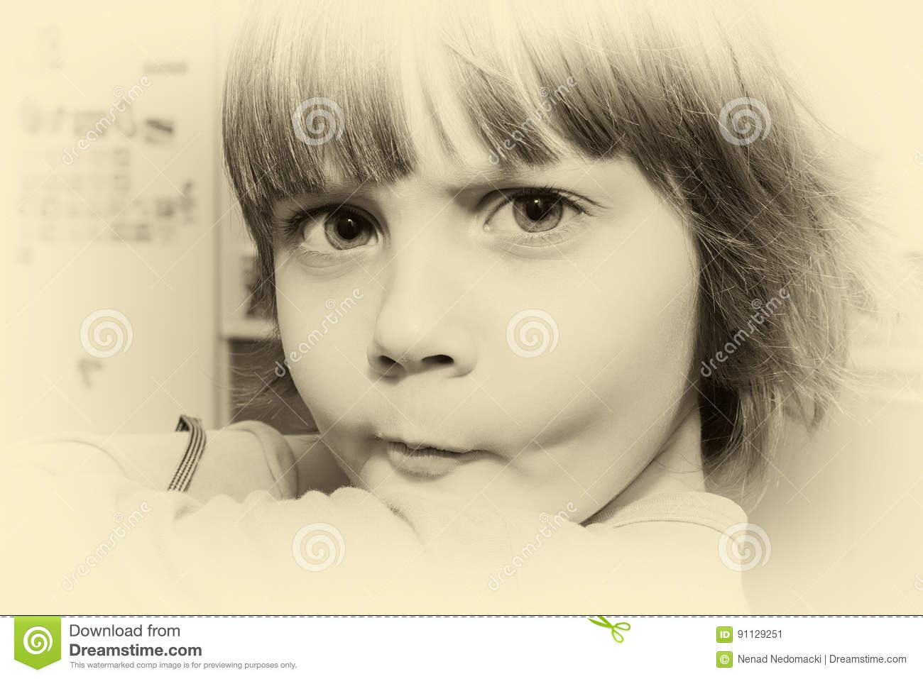 Beautiful Little Young Girl Making A Face