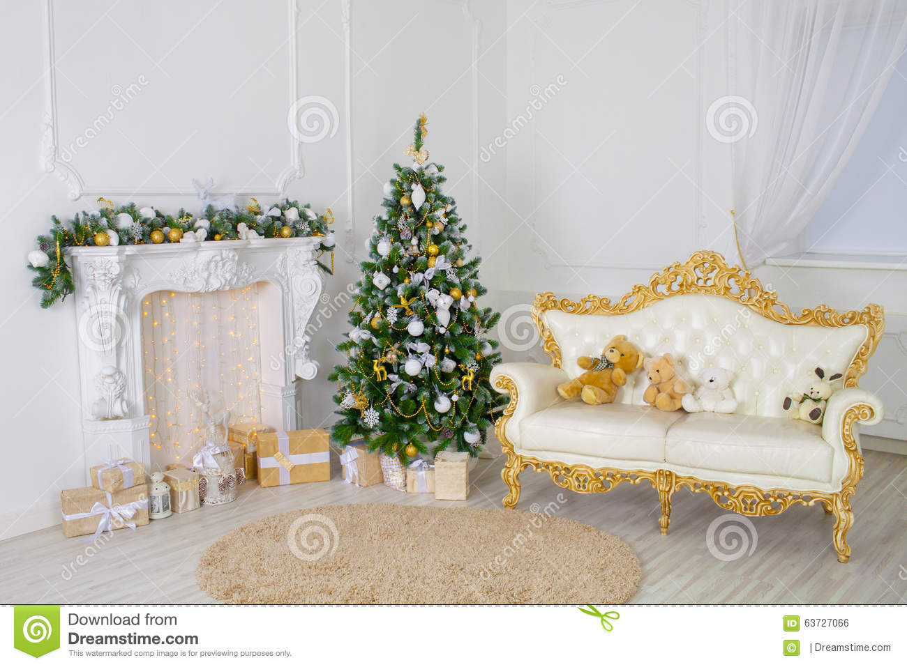 A Beautiful Living Room Decorated For Christmas Stock Photo Image 63727066