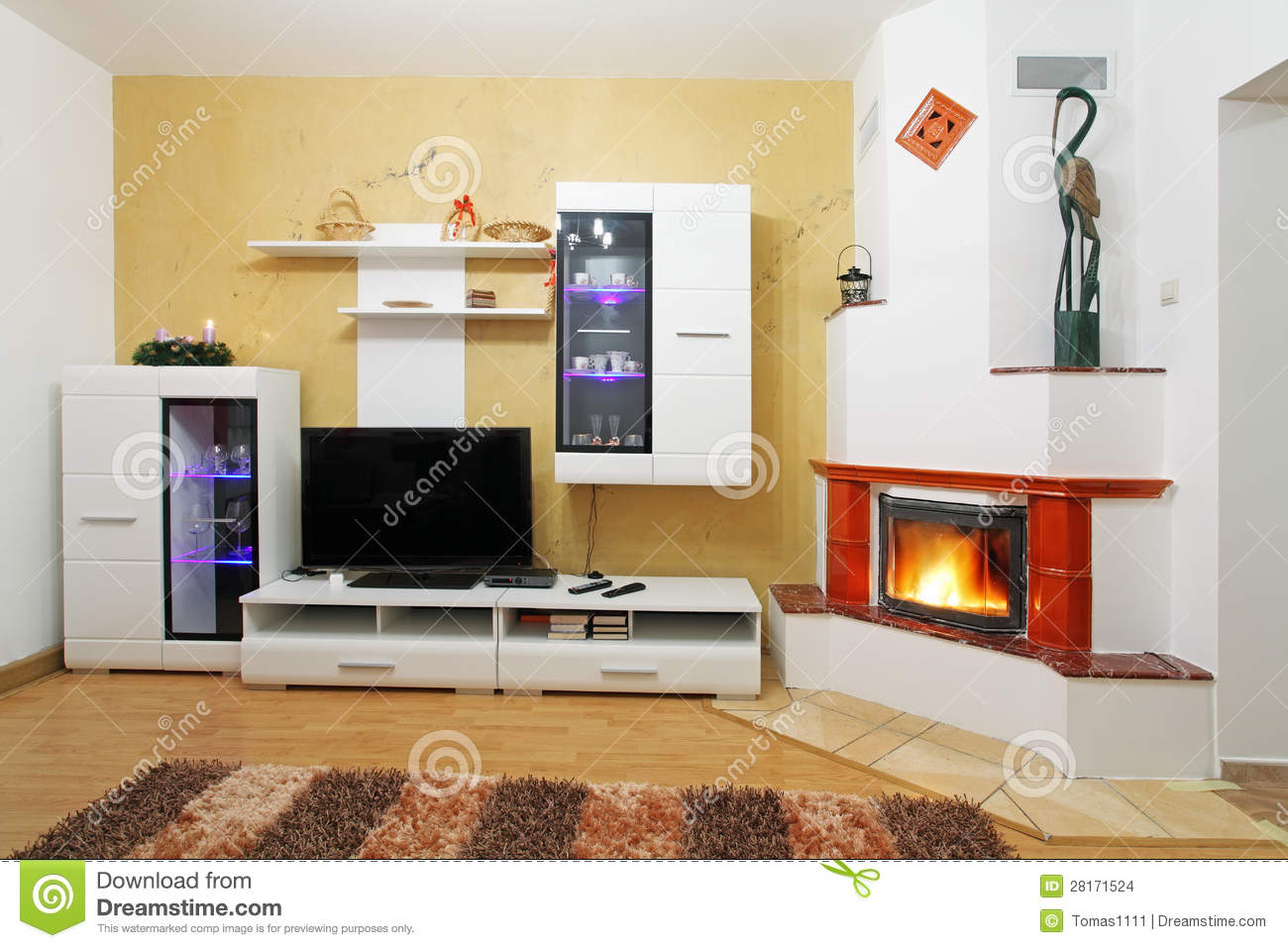 Beautiful Living Room With Fireplace Stock Images Image