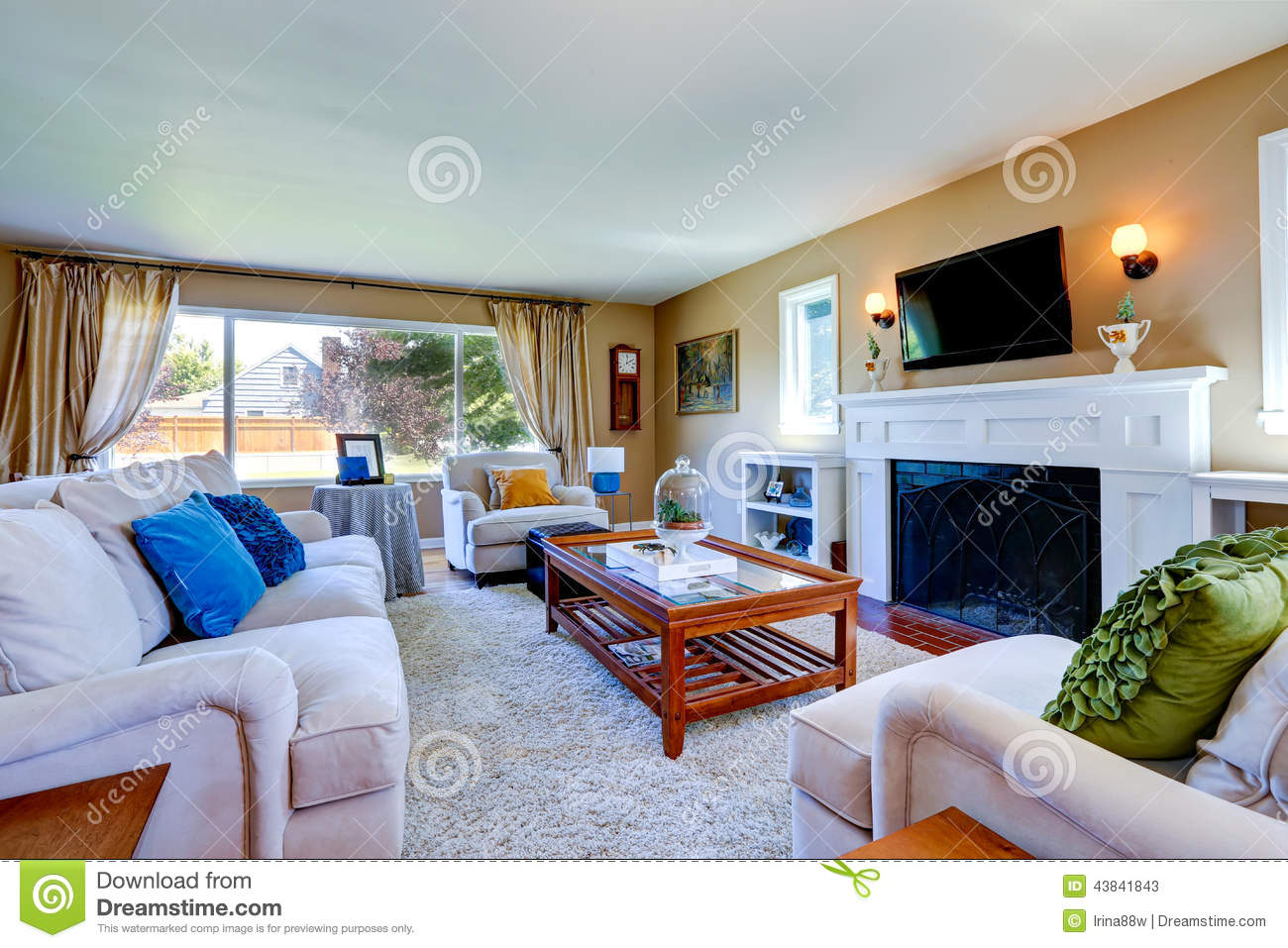 Living Room With White Furniture Glass Top Table Cozy Fireplace And Tv
