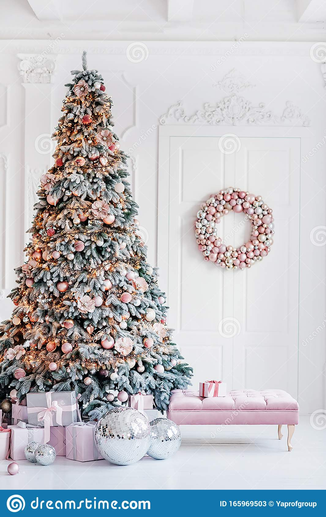 Beautiful Living Room Interior With Decorated Pink Christmas Trees Stock Image Image Of Decoration Warm 165969503