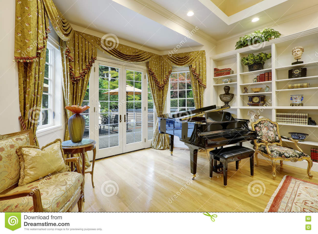Beautiful living room interior in luxury house stock photo for Beautiful house and room