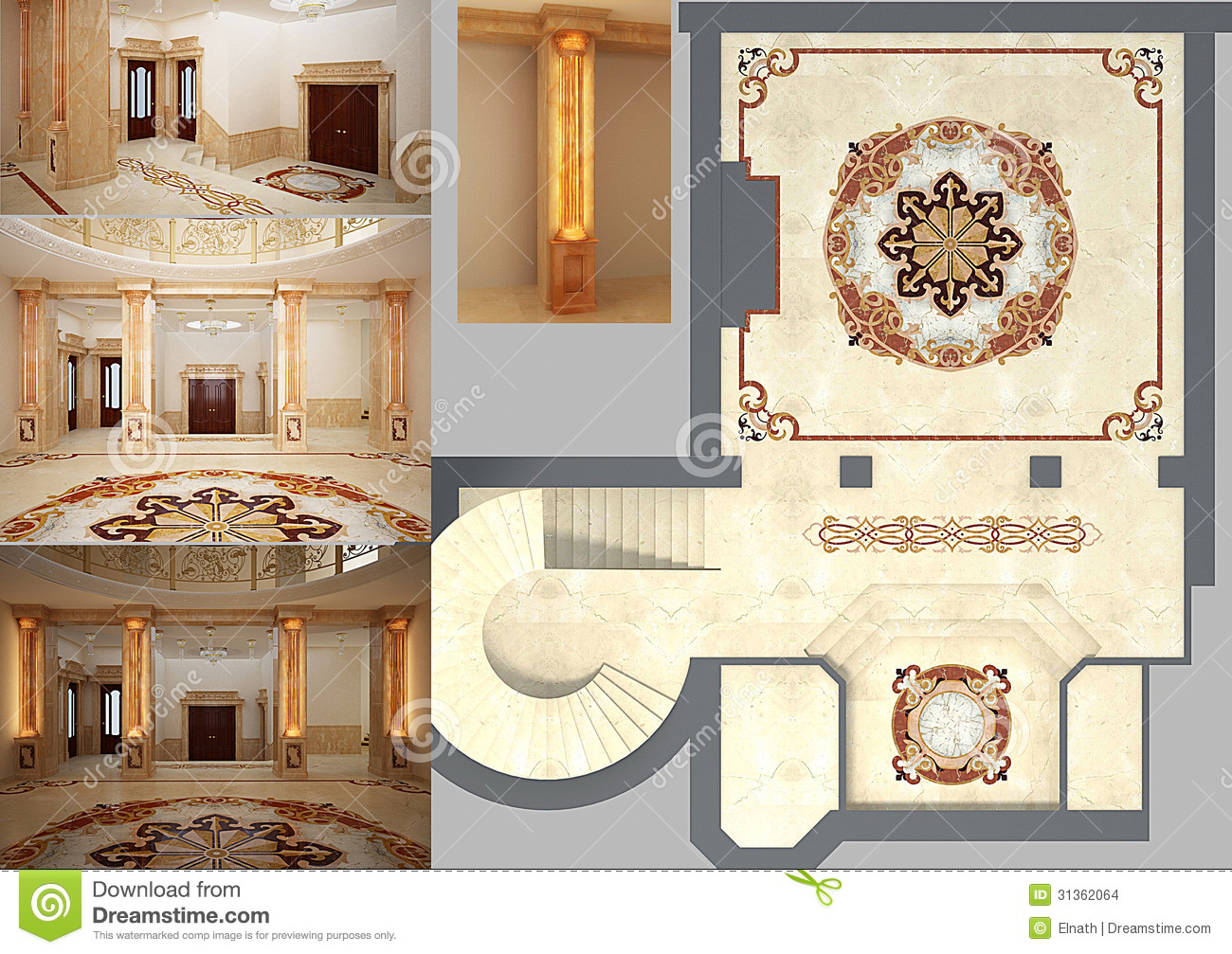 Beautiful Living Room With Mosaic Floor Stock Illustration ...