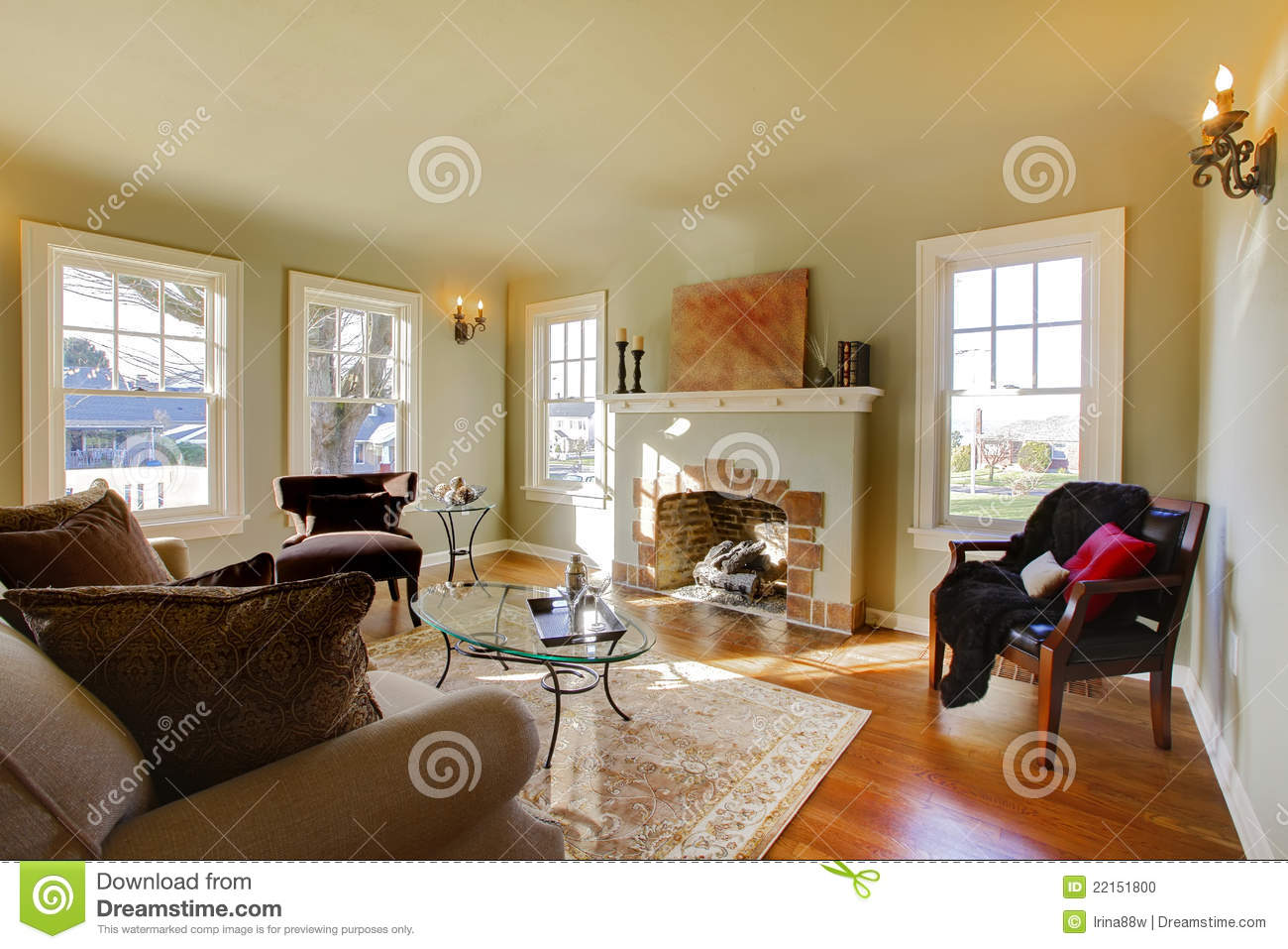 Beautiful Living Room With Old Fireplace Stock Photo