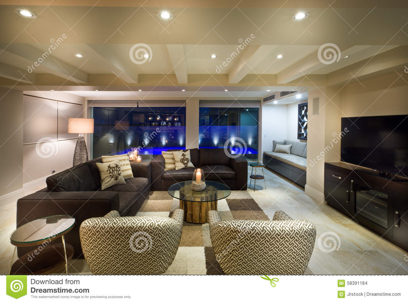 Living Room Tv Set Beautiful Living Room With A Tv Set Stock Photo Image 58391184