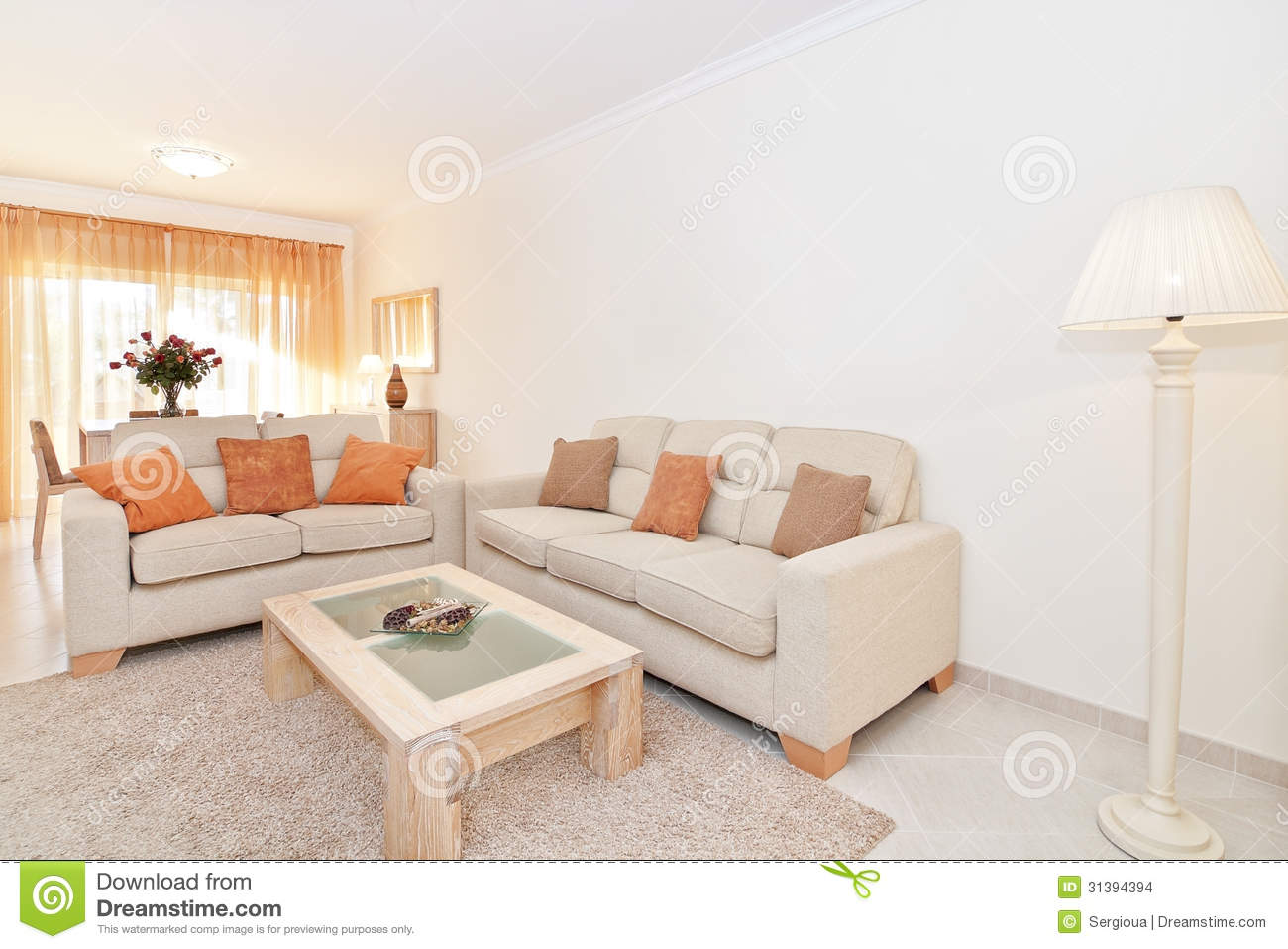 Beautiful Living Room With Warm Colors. With The Shade. Stock Photo ...